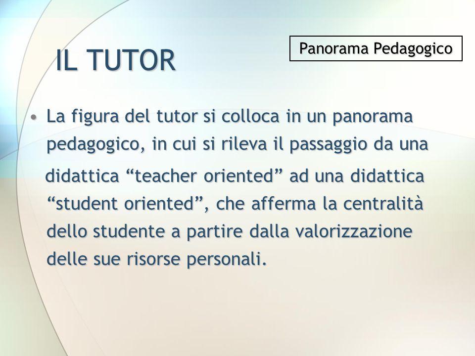 IL TUTOR La figura del tutor si colloca in un panorama pedagogico, in cui si rileva il passaggio da unaLa figura del tutor si colloca in un panorama p