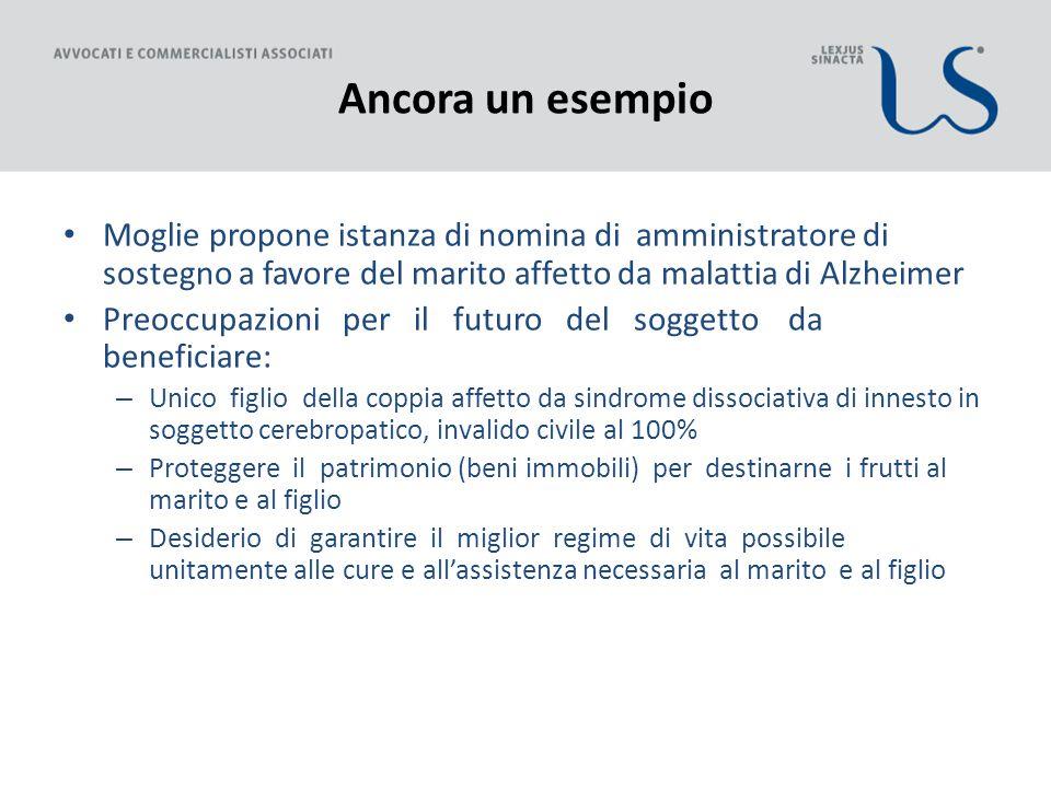Ancora un esempio Moglie propone istanza di nomina di amministratore di sostegno a favore del marito affetto da malattia di Alzheimer Preoccupazioni p