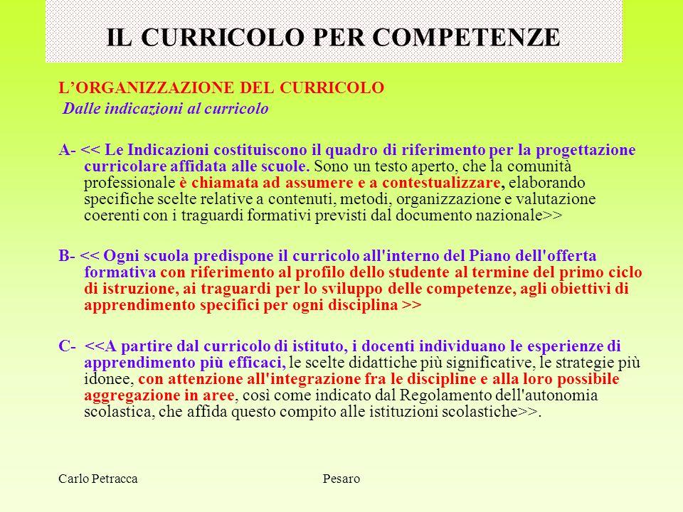 IL CURRICOLO PER COMPETENZE L'ORGANIZZAZIONE DEL CURRICOLO Dalle indicazioni al curricolo A- > B- > C- >. PesaroCarlo Petracca