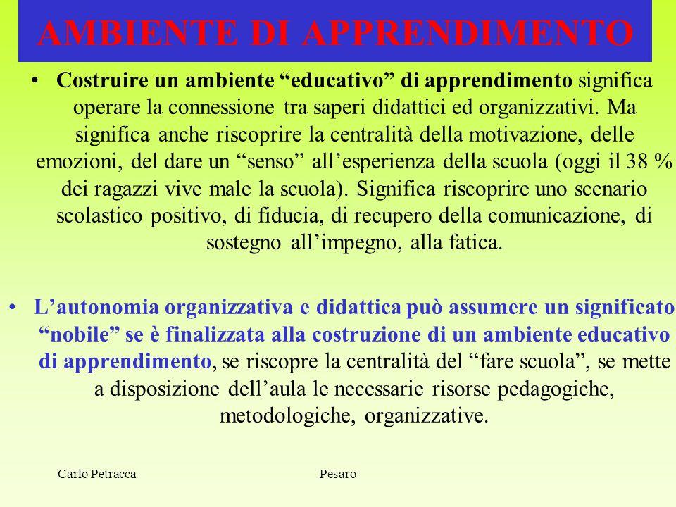 """Pesaro AMBIENTE DI APPRENDIMENTO Costruire un ambiente """"educativo"""" di apprendimento significa operare la connessione tra saperi didattici ed organizza"""