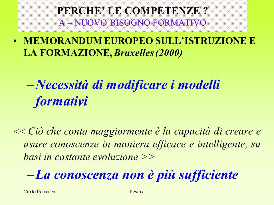 Carlo Petracca PERCHE' LE COMPETENZE ? A – NUOVO BISOGNO FORMATIVO MEMORANDUM EUROPEO SULL'ISTRUZIONE E LA FORMAZIONE, Bruxelles (2000) –Necessità di
