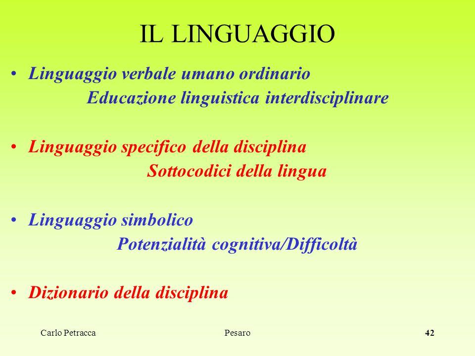 Carlo Petracca42 IL LINGUAGGIO Linguaggio verbale umano ordinario Educazione linguistica interdisciplinare Linguaggio specifico della disciplina Sotto