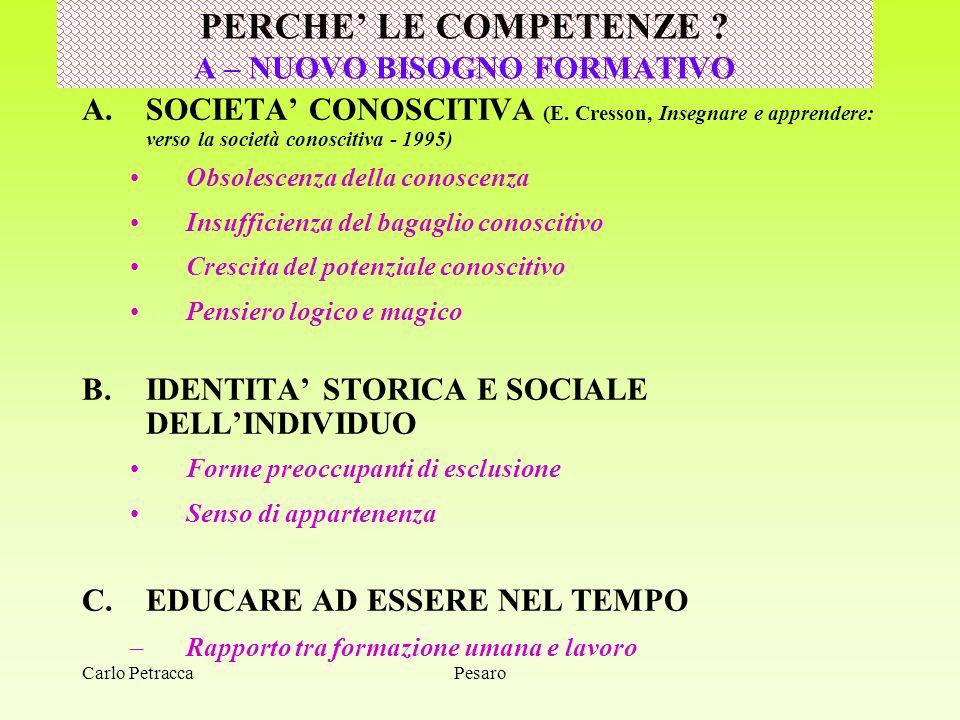 SVILUPPO DELLE COMPETENZE OPERAREI PROGETTI > B. Rey, 2003 PesaroCarlo Petracca