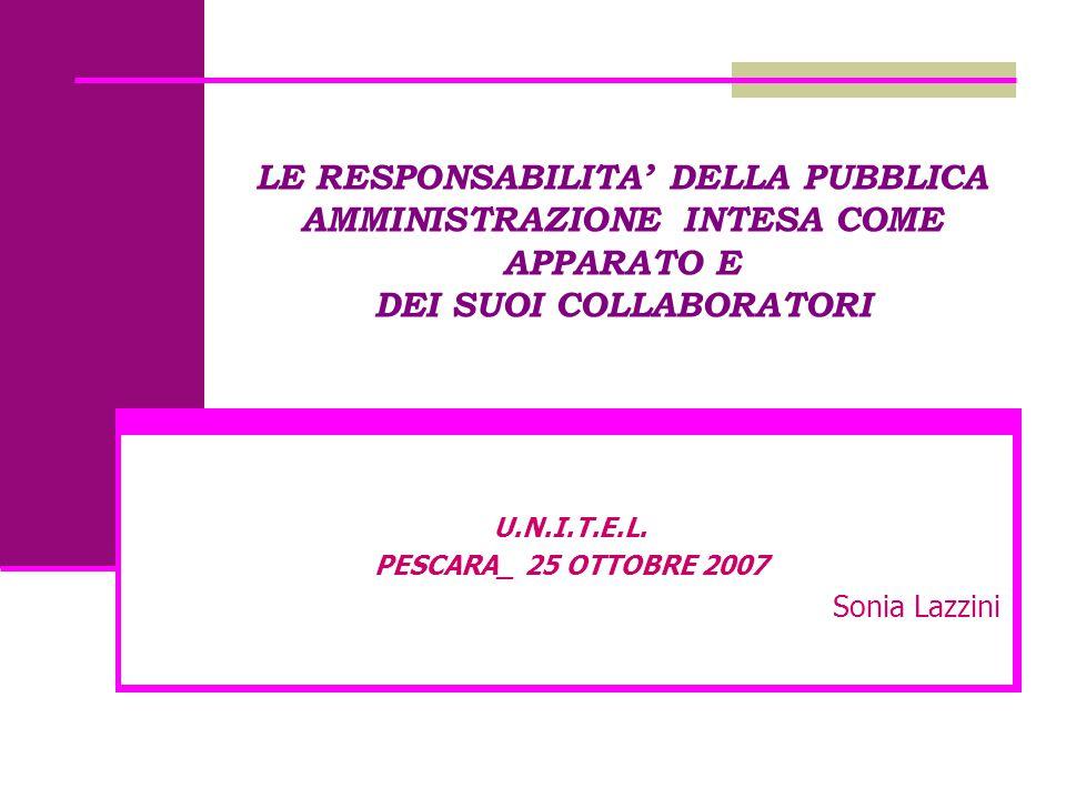LE RESPONSABILITA' DELLA PUBBLICA AMMINISTRAZIONE INTESA COME APPARATO E DEI SUOI COLLABORATORI U.N.I.T.E.L. PESCARA_ 25 OTTOBRE 2007 Sonia Lazzini