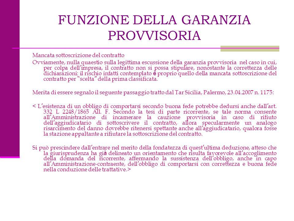 FUNZIONE DELLA GARANZIA PROVVISORIA Mancata sottoscrizione del contratto Ovviamente, nulla quaestio sulla legittima escussione della garanzia provviso