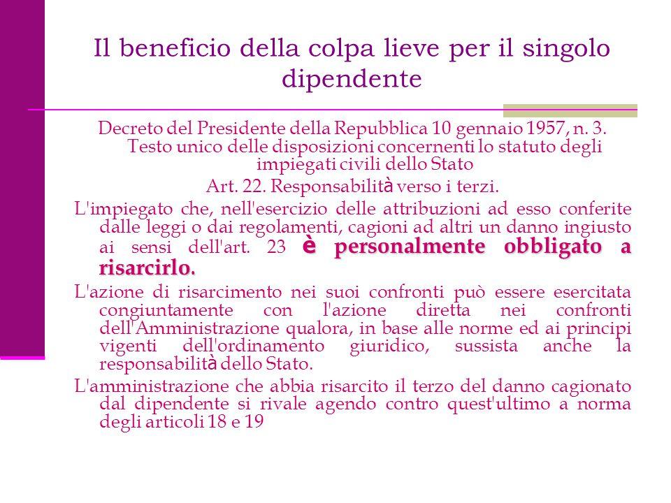Il beneficio della colpa lieve per il singolo dipendente Decreto del Presidente della Repubblica 10 gennaio 1957, n. 3. Testo unico delle disposizioni