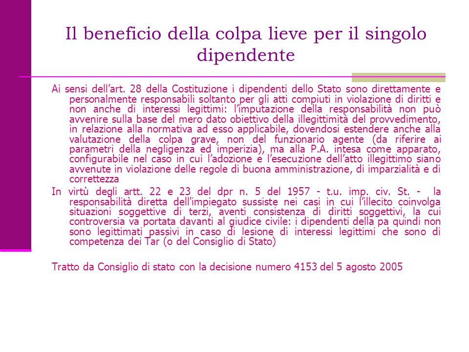 Il beneficio della colpa lieve per il singolo dipendente Ai sensi dell'art. 28 della Costituzione i dipendenti dello Stato sono direttamente e persona