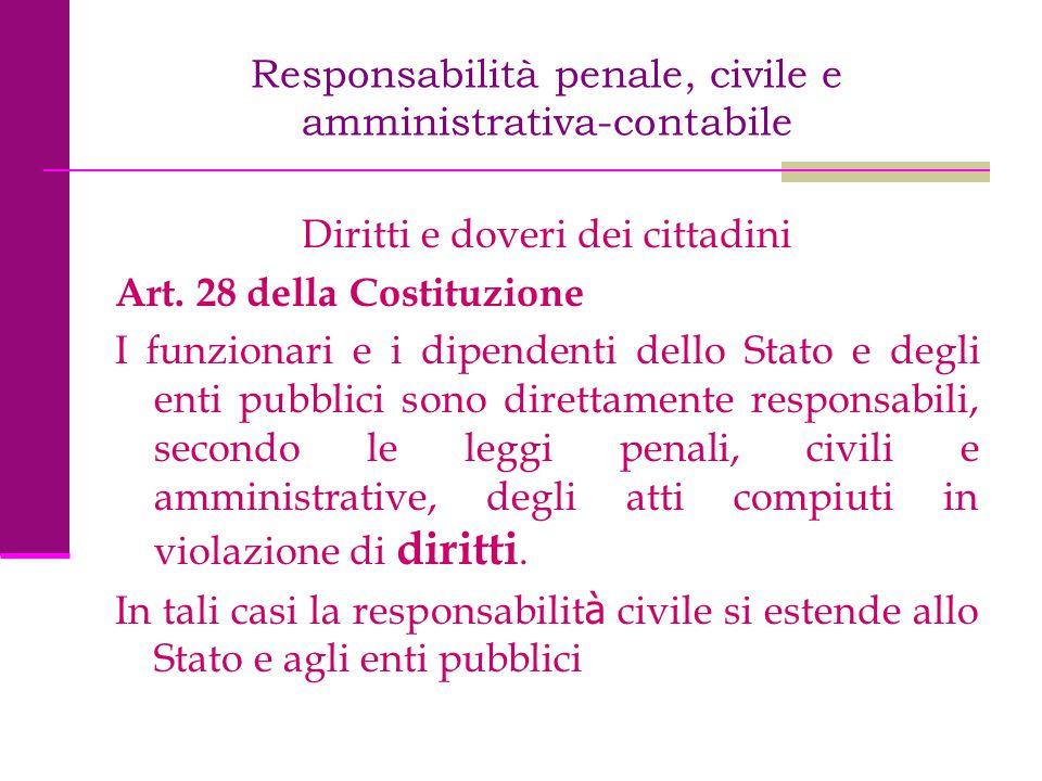 Responsabilità penale, civile e amministrativa-contabile Diritti e doveri dei cittadini Art. 28 della Costituzione I funzionari e i dipendenti dello S