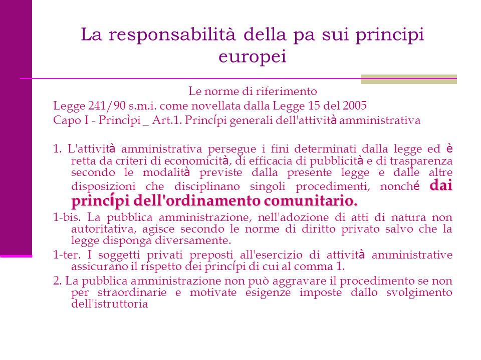 La responsabilità della pa sui principi europei Le norme di riferimento Legge 241/90 s.m.i. come novellata dalla Legge 15 del 2005 Capo I - Princ ì pi