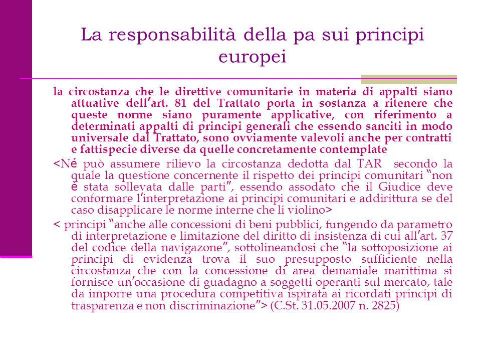 La responsabilità della pa sui principi europei la circostanza che le direttive comunitarie in materia di appalti siano attuative dell ' art. 81 del T