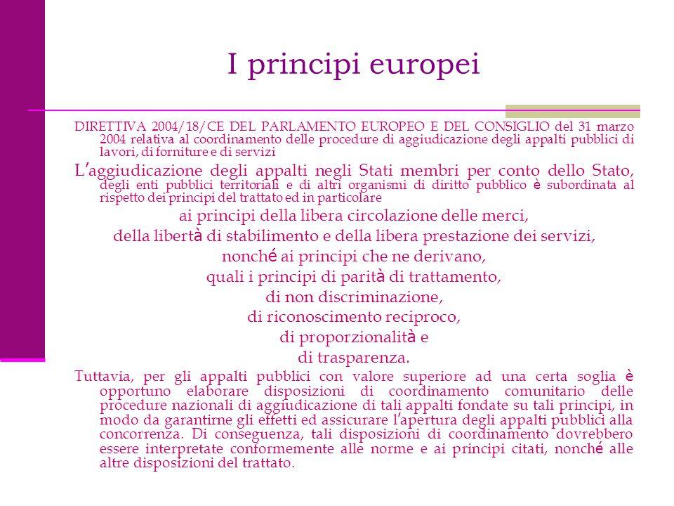 I principi europei DIRETTIVA 2004/18/CE DEL PARLAMENTO EUROPEO E DEL CONSIGLIO del 31 marzo 2004 relativa al coordinamento delle procedure di aggiudic