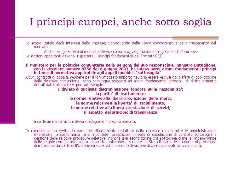 I principi europei, anche sotto soglia Lo scopo: tutela degli interessi delle imprese; Salvaguardia della libera concorrenza e della trasparenza del m