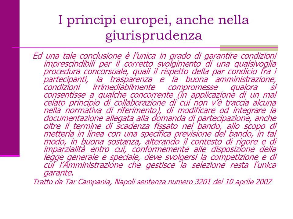 I principi europei, anche nella giurisprudenza Ed una tale conclusione è l'unica in grado di garantire condizioni imprescindibili per il corretto svol