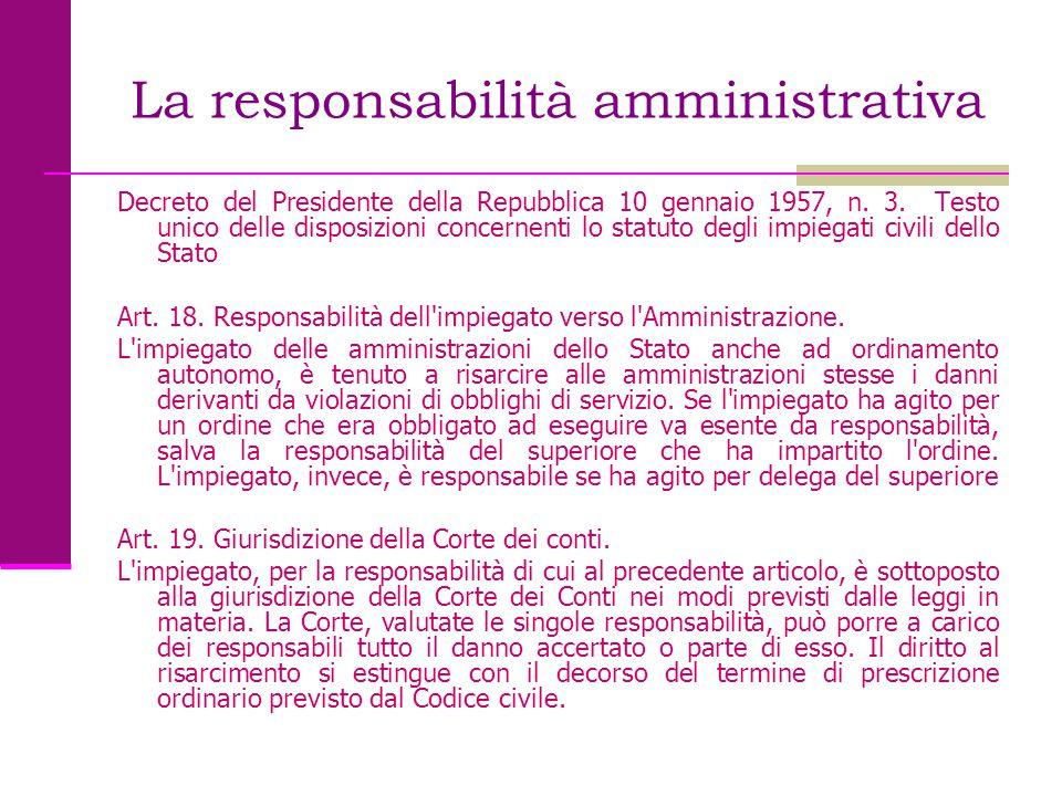 La responsabilità amministrativa Decreto del Presidente della Repubblica 10 gennaio 1957, n. 3. Testo unico delle disposizioni concernenti lo statuto