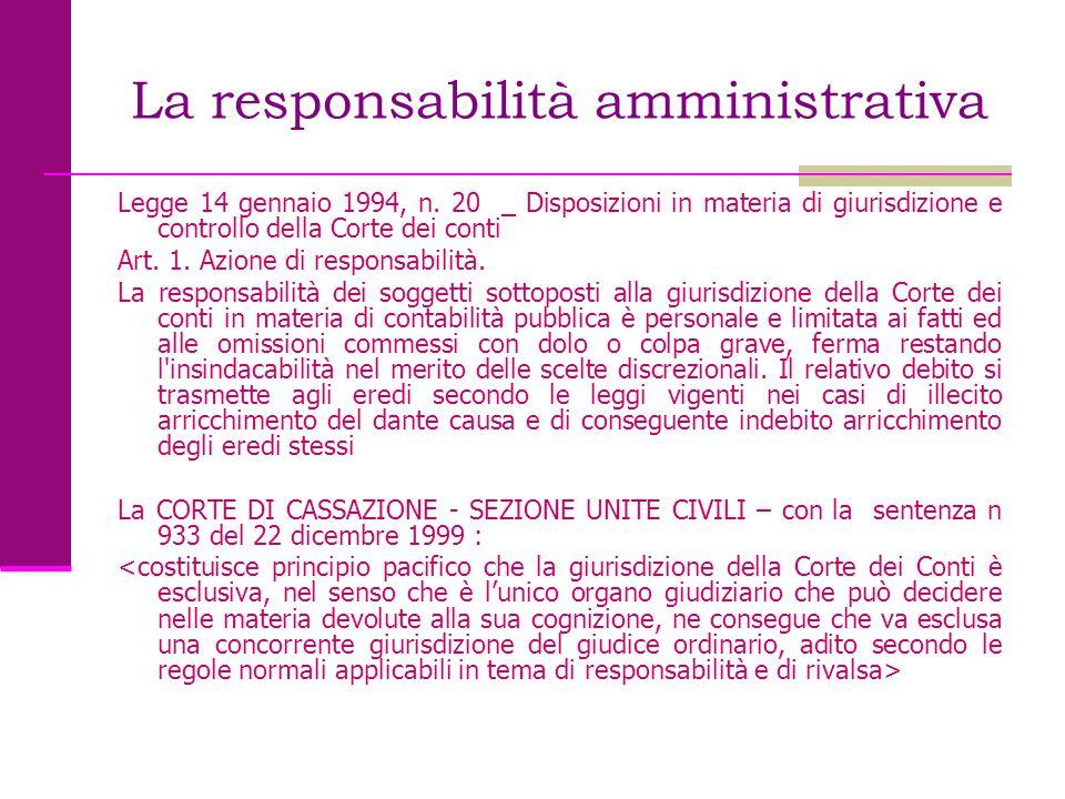 La responsabilità amministrativa Legge 14 gennaio 1994, n. 20 _ Disposizioni in materia di giurisdizione e controllo della Corte dei conti Art. 1. Azi