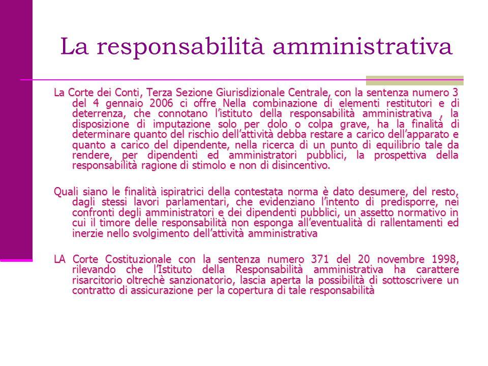 La responsabilità amministrativa La Corte dei Conti, Terza Sezione Giurisdizionale Centrale, con la sentenza numero 3 del 4 gennaio 2006 ci offre Nell