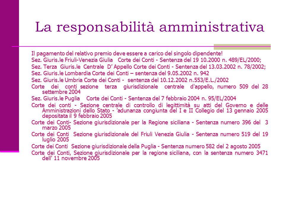 La responsabilità amministrativa Il pagamento del relativo premio deve essere a carico del singolo dipendente! Sez. Giuris.le Friuli-Venezia Giulia Co