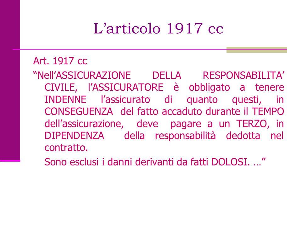 """L'articolo 1917 cc Art. 1917 cc """"Nell'ASSICURAZIONE DELLA RESPONSABILITA' CIVILE, l'ASSICURATORE è obbligato a tenere INDENNE l'assicurato di quanto q"""