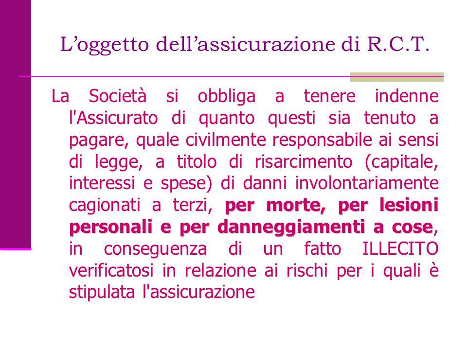 L'oggetto dell'assicurazione di R.C.T. per morte, per lesioni personali e per danneggiamenti a cose La Società si obbliga a tenere indenne l'Assicurat