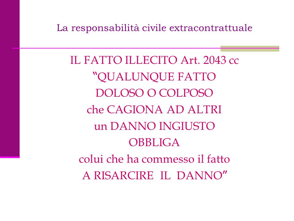 La responsabilità civile extracontrattuale I SOGGETTI NORMA DI BASE ART.