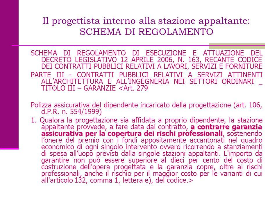 Il progettista interno alla stazione appaltante: SCHEMA DI REGOLAMENTO SCHEMA DI REGOLAMENTO DI ESECUZIONE E ATTUAZIONE DEL DECRETO LEGISLATIVO 12 APR