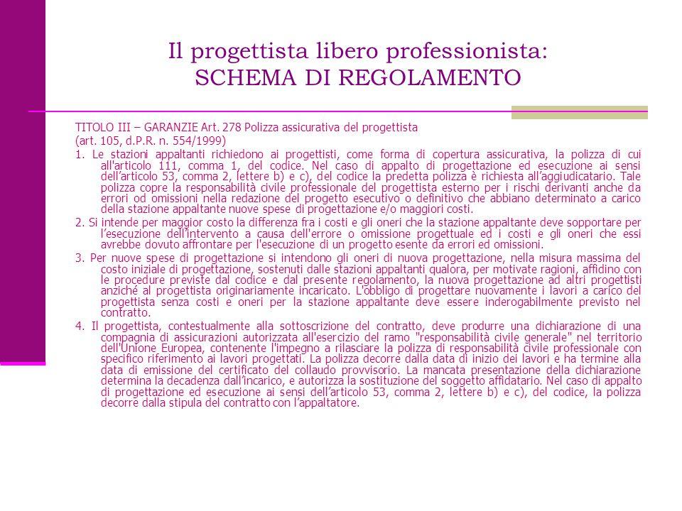 Il progettista libero professionista: SCHEMA DI REGOLAMENTO TITOLO III – GARANZIE Art. 278 Polizza assicurativa del progettista (art. 105, d.P.R. n. 5