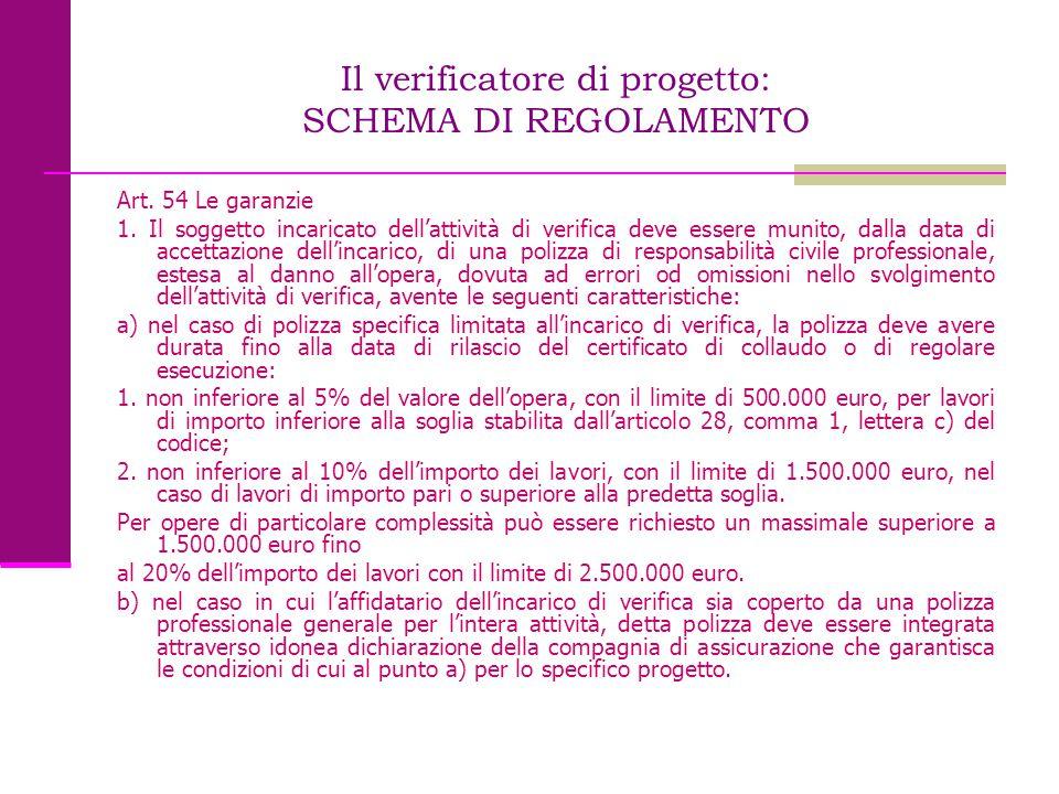 Il verificatore di progetto: SCHEMA DI REGOLAMENTO Art. 54 Le garanzie 1. Il soggetto incaricato dell'attività di verifica deve essere munito, dalla d