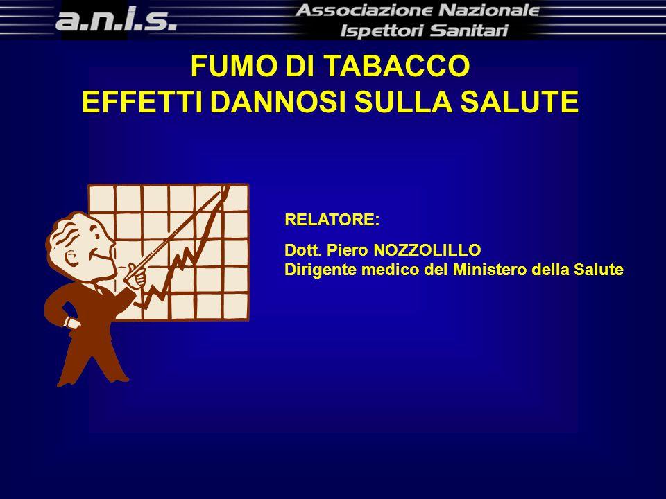FUMO DI TABACCO EFFETTI DANNOSI SULLA SALUTE RELATORE: Dott.