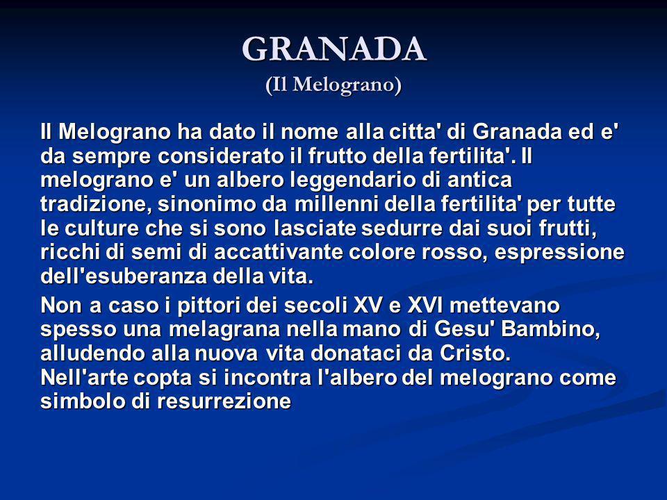 GRANADA (Il Melograno) Il Melograno ha dato il nome alla citta' di Granada ed e' da sempre considerato il frutto della fertilita'. Il melograno e' un