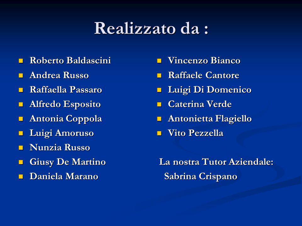 Realizzato da : Roberto Baldascini Roberto Baldascini Andrea Russo Andrea Russo Raffaella Passaro Raffaella Passaro Alfredo Esposito Alfredo Esposito