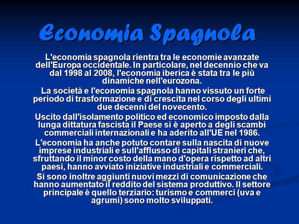 Economia Spagnola L'economia spagnola rientra tra le economie avanzate dell'Europa occidentale. In particolare, nel decennio che va dal 1998 al 2008,