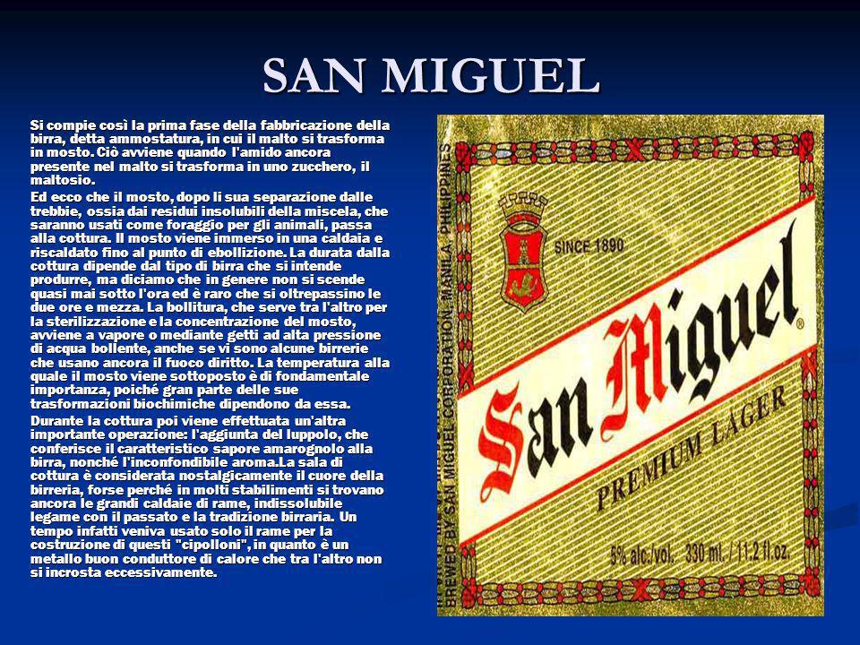 SAN MIGUEL Si compie così la prima fase della fabbricazione della birra, detta ammostatura, in cui il malto si trasforma in mosto. Ciò avviene quando