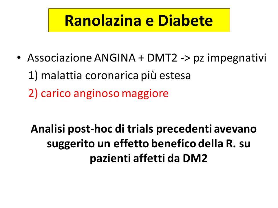 Ranolazina e Diabete Associazione ANGINA + DMT2 -> pz impegnativi 1) malattia coronarica più estesa 2) carico anginoso maggiore Analisi post-hoc di tr
