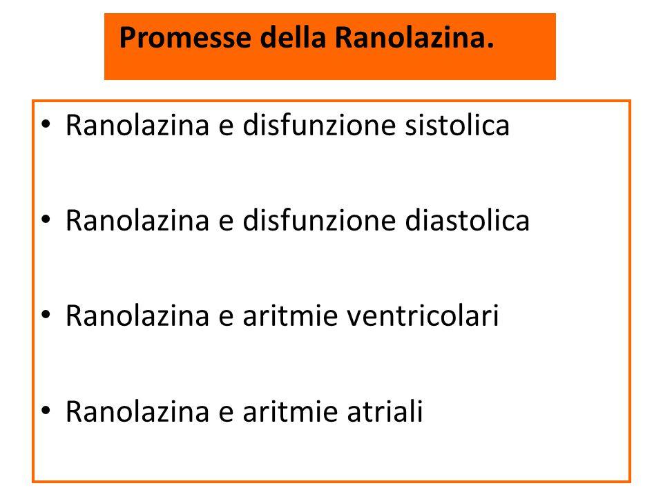 Ranolazina e disfunzione sistolica Ranolazina e disfunzione diastolica Ranolazina e aritmie ventricolari Ranolazina e aritmie atriali Promesse della R