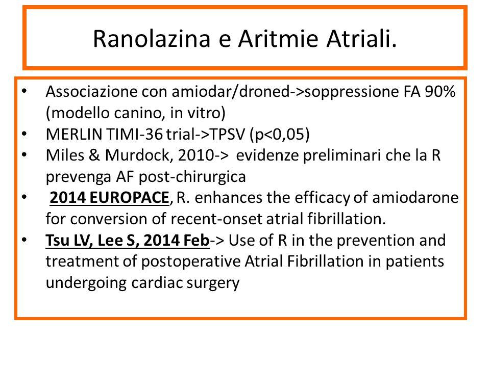Ranolazina e Aritmie Atriali. Associazione con amiodar/droned->soppressione FA 90% (modello canino, in vitro) MERLIN TIMI-36 trial->TPSV (p<0,05) Mile