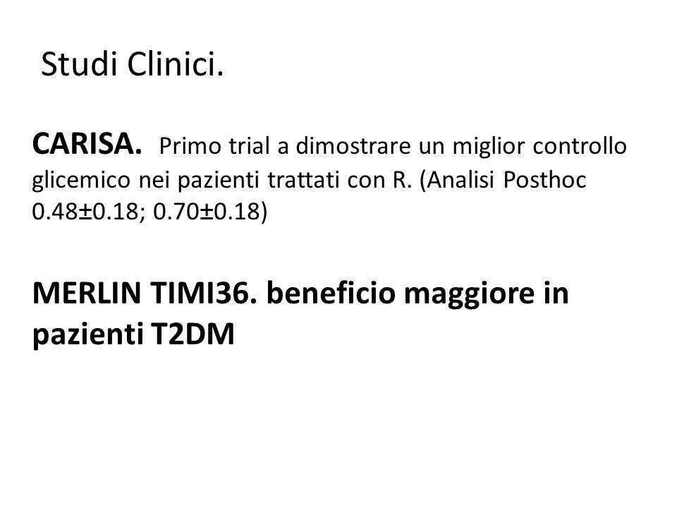 Studi Clinici. CARISA. Primo trial a dimostrare un miglior controllo glicemico nei pazienti trattati con R. (Analisi Posthoc 0.48±0.18; 0.70±0.18) MER