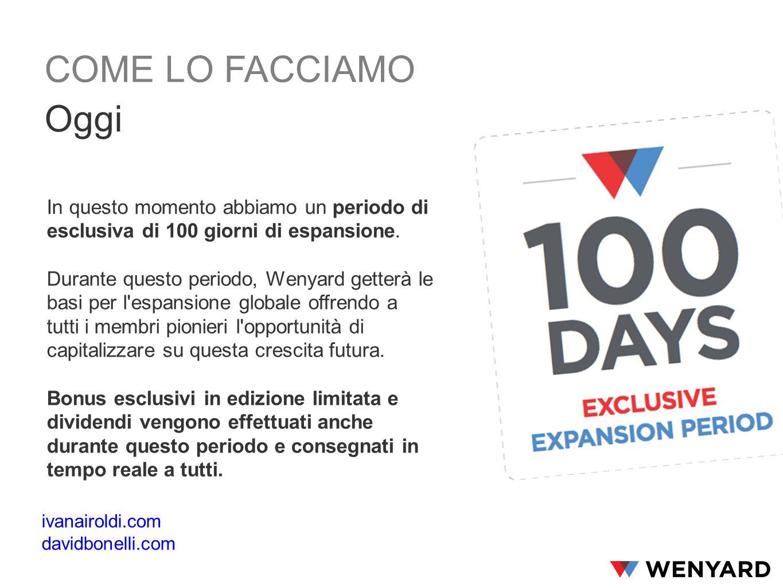 In questo momento abbiamo un periodo di esclusiva di 100 giorni di espansione.