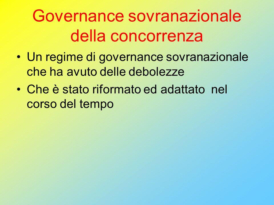 Governance sovranazionale della concorrenza Un regime di governance sovranazionale che ha avuto delle debolezze Che è stato riformato ed adattato nel corso del tempo