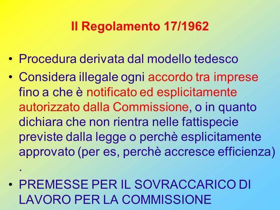 Il Regolamento 17/1962 Procedura derivata dal modello tedesco Considera illegale ogni accordo tra imprese fino a che è notificato ed esplicitamente autorizzato dalla Commissione, o in quanto dichiara che non rientra nelle fattispecie previste dalla legge o perchè esplicitamente approvato (per es, perchè accresce efficienza).