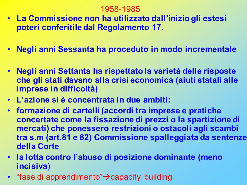 1958-1985 La Commissione non ha utilizzato dall'inizio gli estesi poteri conferitile dal Regolamento 17.