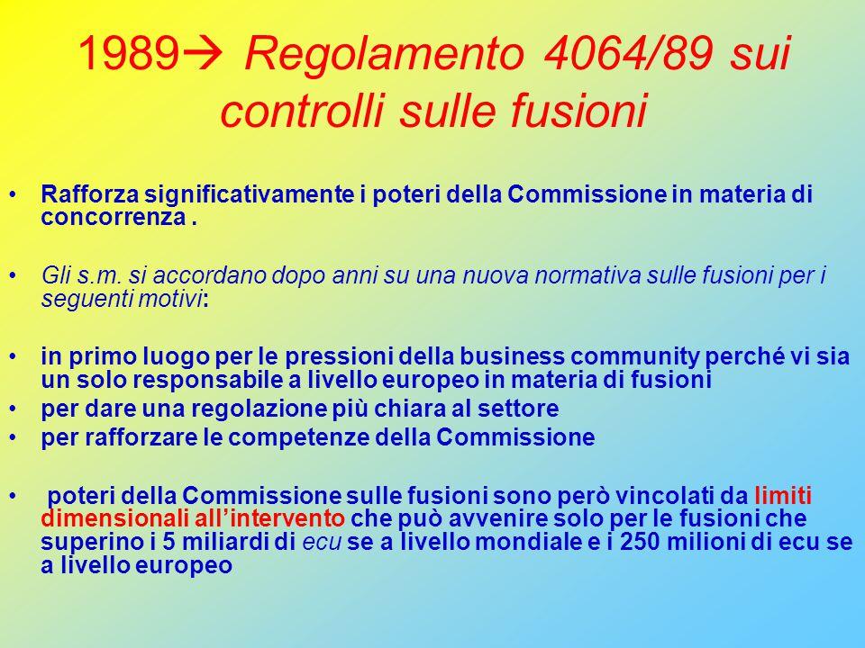 1989  Regolamento 4064/89 sui controlli sulle fusioni Rafforza significativamente i poteri della Commissione in materia di concorrenza.
