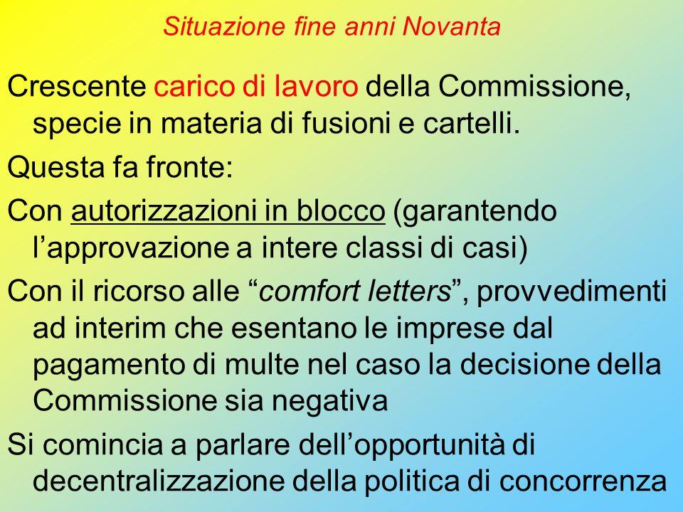 Situazione fine anni Novanta Crescente carico di lavoro della Commissione, specie in materia di fusioni e cartelli.