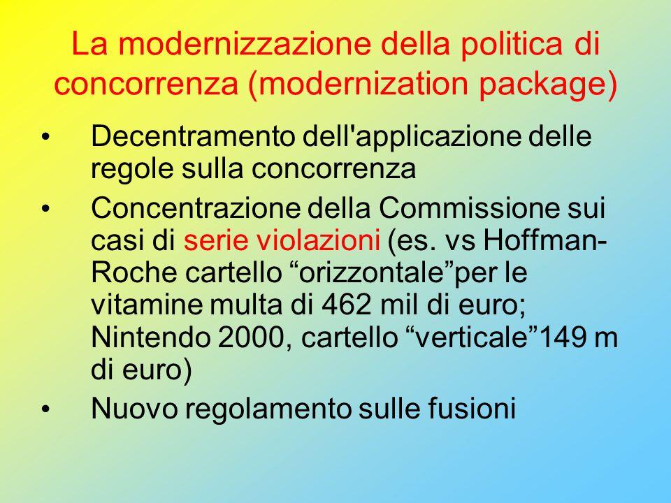 La modernizzazione della politica di concorrenza (modernization package) Decentramento dell applicazione delle regole sulla concorrenza Concentrazione della Commissione sui casi di serie violazioni (es.