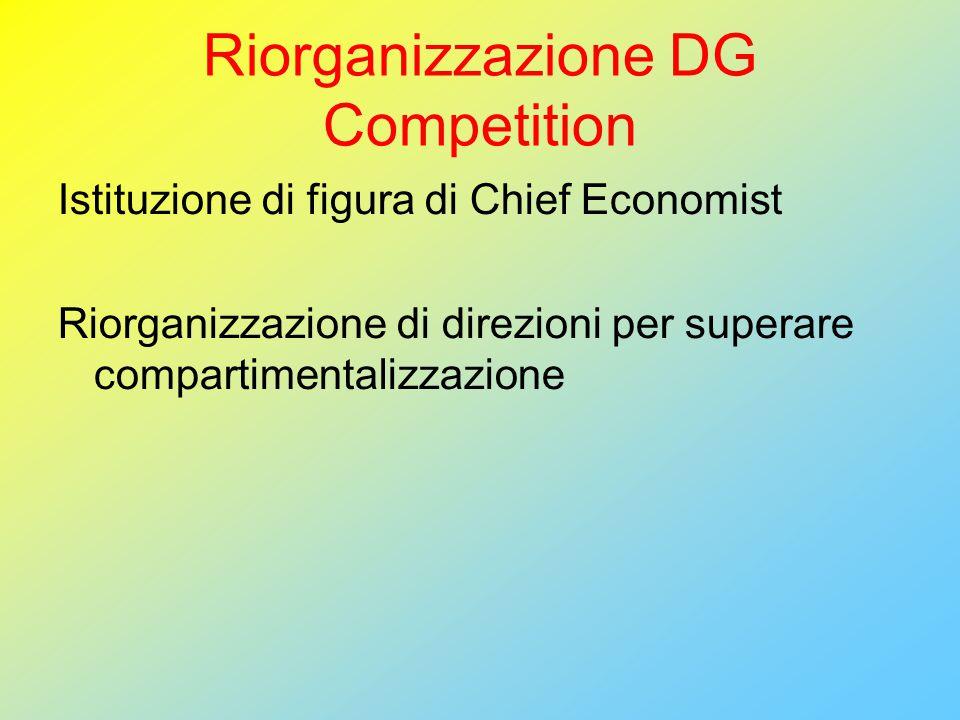 Riorganizzazione DG Competition Istituzione di figura di Chief Economist Riorganizzazione di direzioni per superare compartimentalizzazione