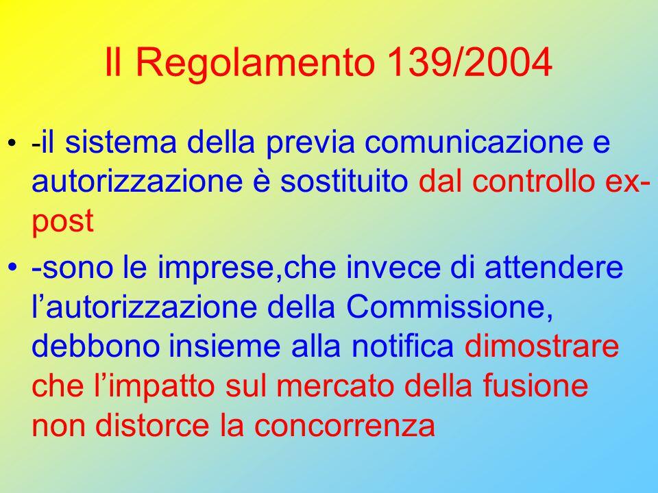 Il Regolamento 139/2004 - il sistema della previa comunicazione e autorizzazione è sostituito dal controllo ex- post -sono le imprese,che invece di attendere l'autorizzazione della Commissione, debbono insieme alla notifica dimostrare che l'impatto sul mercato della fusione non distorce la concorrenza