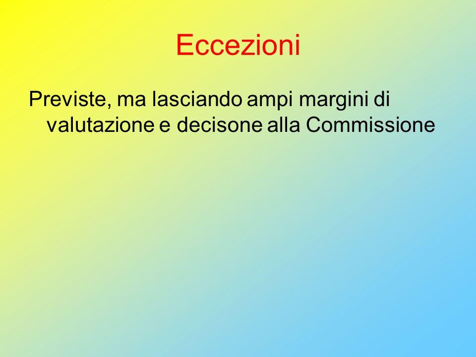 Eccezioni Previste, ma lasciando ampi margini di valutazione e decisone alla Commissione