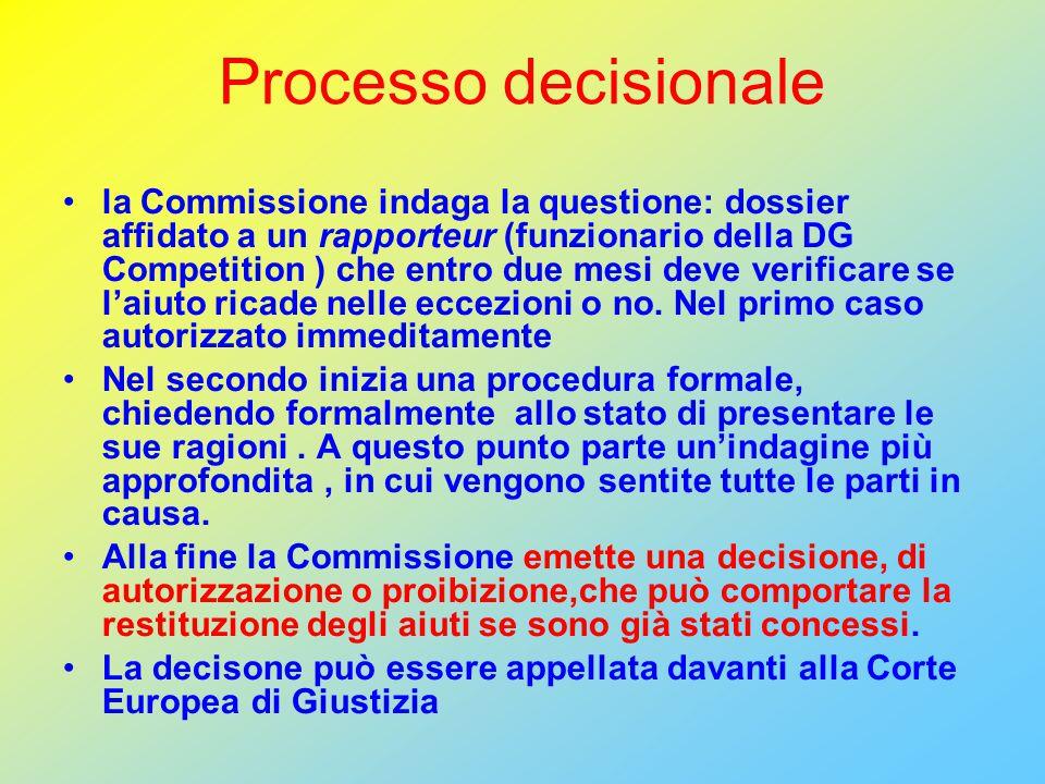 Processo decisionale la Commissione indaga la questione: dossier affidato a un rapporteur (funzionario della DG Competition ) che entro due mesi deve verificare se l'aiuto ricade nelle eccezioni o no.