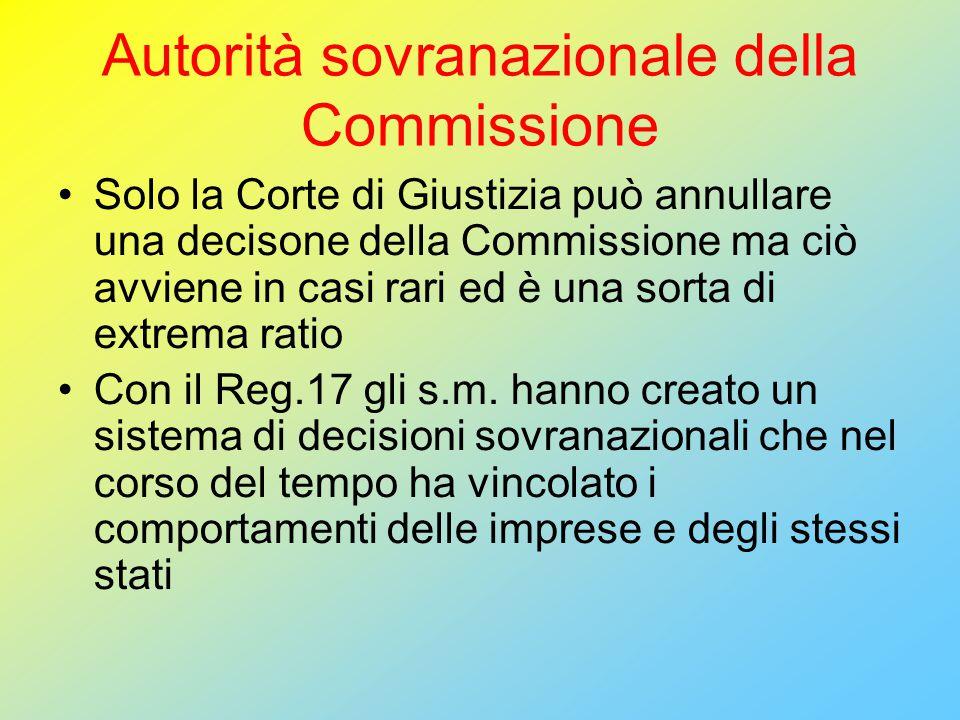 Autorità sovranazionale della Commissione Solo la Corte di Giustizia può annullare una decisone della Commissione ma ciò avviene in casi rari ed è una sorta di extrema ratio Con il Reg.17 gli s.m.