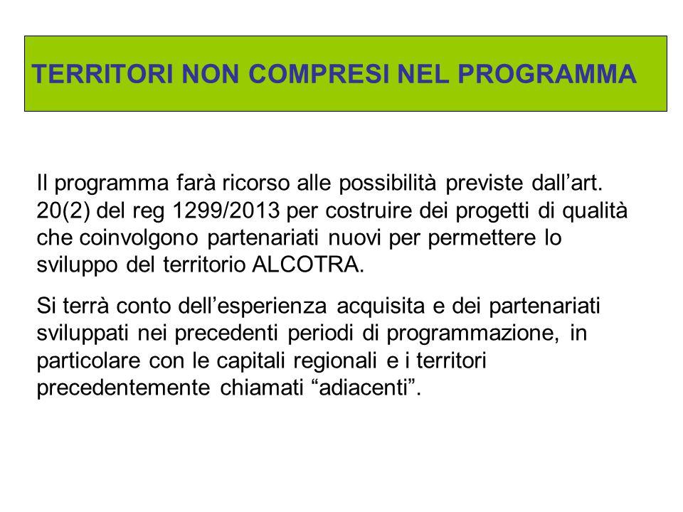 Il programma farà ricorso alle possibilità previste dall'art. 20(2) del reg 1299/2013 per costruire dei progetti di qualità che coinvolgono partenaria