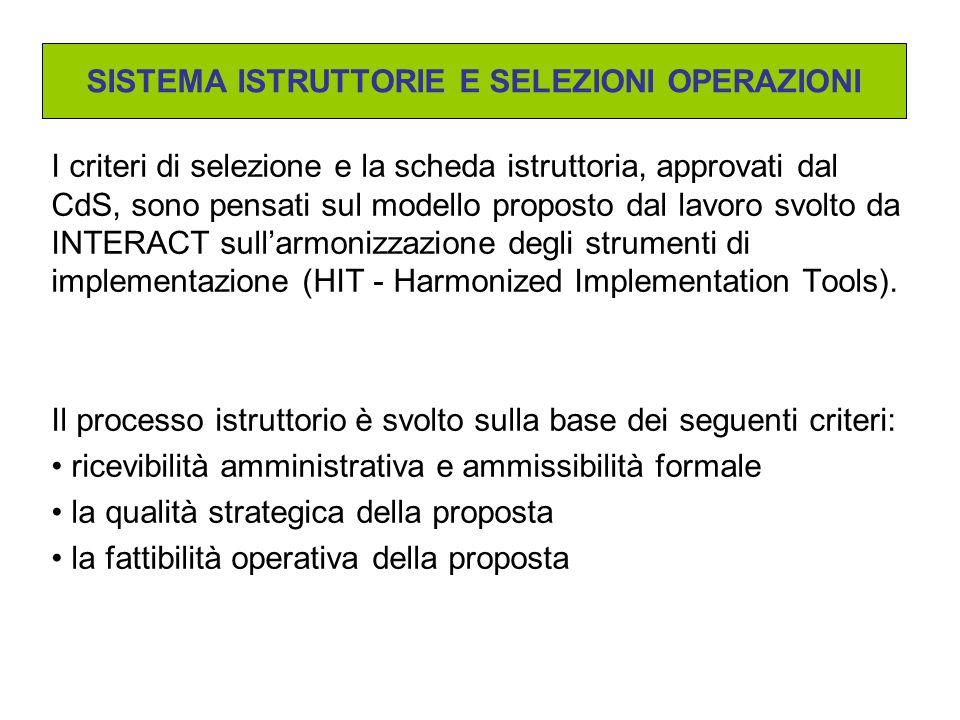 I criteri di selezione e la scheda istruttoria, approvati dal CdS, sono pensati sul modello proposto dal lavoro svolto da INTERACT sull'armonizzazione